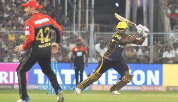 Kolkata: Andre Russell of Kolkata Knight Riders in action during an IPL 2018 match between Kolkata Knight Riders and Royal Challengers Bangalore at the Eden Gardens