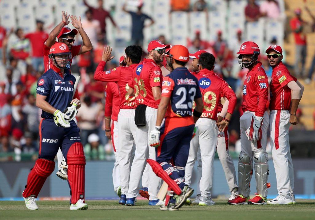 Mohali: Mujeeb Ur Rahman of Kings XI Punjab celebrates fall of Colin Munro's wicket during an IPL 2018 match between Delhi Daredevils and Kings XI Punjab